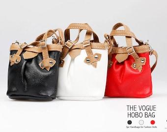 HBS1009 3pc The Vogue Hobo Fashion Handbag for Doll -(Black,White,Red)