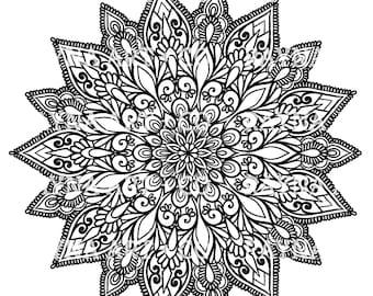 Wild Florals + Vintage Inspired Mandala  MINI Coloring Book