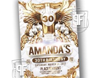 All White Party Invitation - All White Birthday - Milestone Birthday Invitations - White and Gold Party - White & Gold Invitations