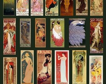 Art Nouveau Posters Collage Sheet - Klimt - Mucha- Digital Download - Printable - Instant Download