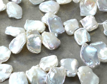 Silver Keishi Pearls Freshwater Cornflake Pearls Large Size Top Drilled Quarter Strand Wedding Bridal KJ