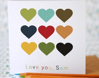 Love You Hearts Card with Personalised Option