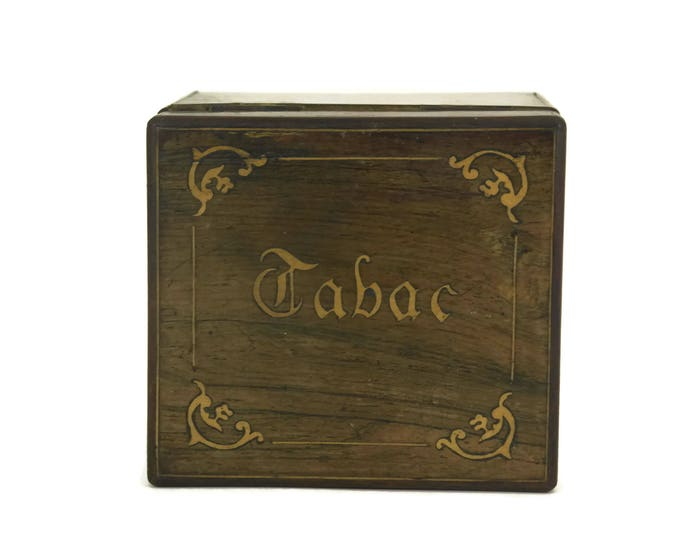 Antique French Tobacco Box. French Marquetry Wood Inlay Box. Tobacco Humidor. Gift for Smoker.