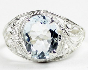Aquamarine, 925 Sterling Silver Ladies Ring, SR083