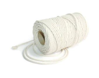 2.3 mm Cotton Rope= 1 Spool= 100 Meters= 110 Yards Natural and Elegant 100 % COTTON Twisted CORD- Macrame cord - Not bleached - No chemicals