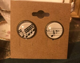Music Note Earrings, sheet music under glass
