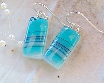 Fused Art Glass Earrings, Petite, Dangle, Sterling Silver, Green, Navy,Turquoise, White, A7