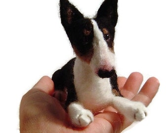Bull Terrier needle felted custom dog sculpture pet memorial