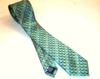 Aqua Skinny Tie by Dockers - Vintage 1980s Shimmery Blue + Green Necktie - Vintage Mens Fashion - Iridescent Necktie - 100% Acetate