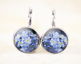 Forget Me Not Earrings, Grief Jewelry for Women, Forget-Me-Not Gift for Remembrance