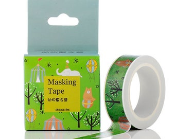 1 roll of 10 meters of masking tape circus pattern