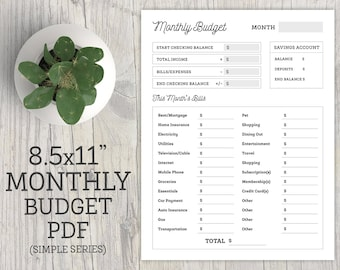 """Monthly Budget - Planner Printable - To Do Checklist - Organization Printable - Letter Size 8.5x11"""" - PDF - INSTANT DOWNLOAD"""