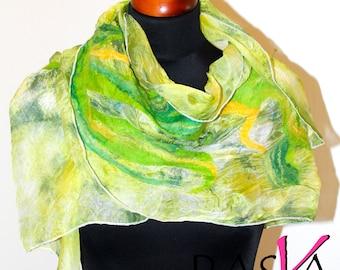 Handmade Merino Wool Felted Silk Green Shawl Scarf Wearable Art