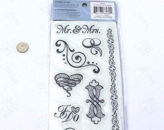 Sale! Heidi Grace 10 Rubber Cling Stamps Wedding NEW in Package! Mr. and Mrs., I Do, Bridal Decor, Invitations, rubber STamp,  Love