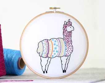 Alpaca Embroidery Kit - Embroidery Design - Nursery Decor - Hand Embroidery - Hoop Art - DIY Kit - Modern Embroidery - Adult Craft Kit
