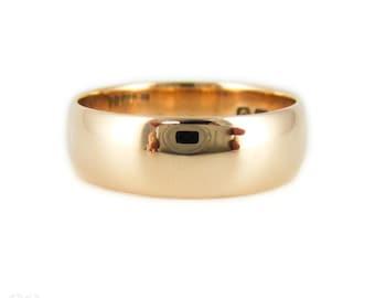 Antique Wide 9 Carat Rose Gold Wedding Ring, Edwardian 1910s Band, Size O / 7.25.