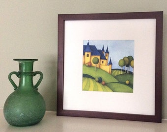 Yellow Castle Signed Archival Print from Original Watercolor