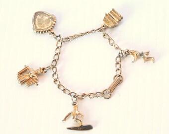 Vintage Hawaii Charm Bracelet Vintage Charms Surfing 1960s Hawaiian Souvenir Link Goldtone Bracelet