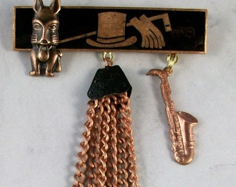 Le Jazz Hot - Art Deco Copper and Black enamel OOAK Scottie Brooch Pin - P-126s