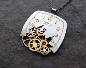 "Broken Watch Face Necklace ""Langan"" Deconstructed Face Pendant Recycled Upcycled Gear Art Steampunk A Mechanical Mind Gift Idea"