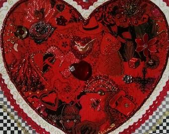 Big Red Valentine Heart Card-Valentine,Dove,Roses,Telephone,Vintage,Valentine's Day, Fancy, Embellished