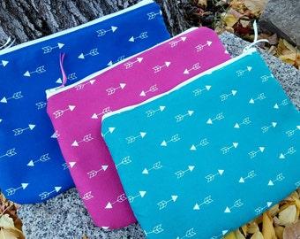 Arrow Cosmetic Bag, Arrow Makeup Bag, Accessory Bag, School Supply Bag