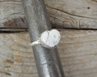 ON SALE Heart shape White Buffalo turquoise ring handmade in sterling silver 925