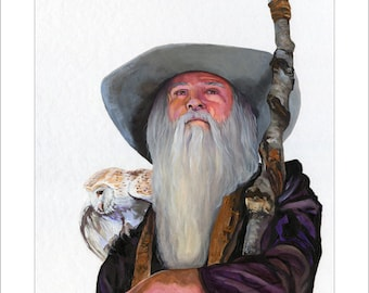 """Owl and Wizard Print - """"Wise Wizard"""" - 8x10 Fantasy Art Illustration Reproduction"""