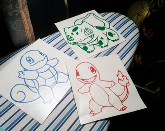 Pokemon Starters Squirtle Bulbasaur Charmander Window Car Vinyl Decals