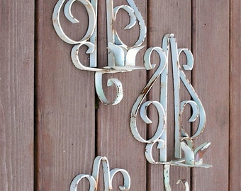 Metal Candle Sconces / 4 Rusty / Primative / Shabby Cottage Chic / UpstairsAtAliceAnns