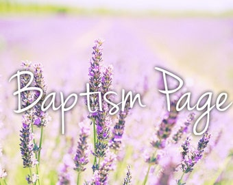 Baptism Page Baby Book
