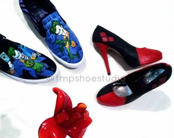 Custom harley quinn x joker wedding shoes