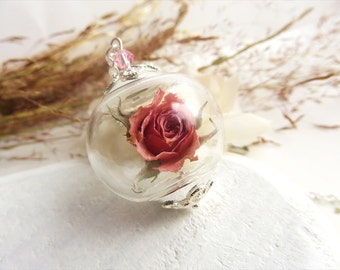 Pink Rose Necklace, Real Rose Necklace, Real Flower Jewelry, Gift for Mom, Romantic Gifts, Birthday Gift