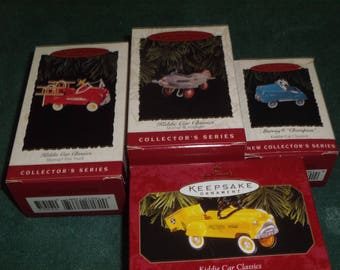 "4 Hallmark Kiddie Car Classics ""Murray"" Vehicle Ornaments"
