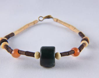 men's wood ,brass ,stone eco-friendly  bracelet  20 cms  639