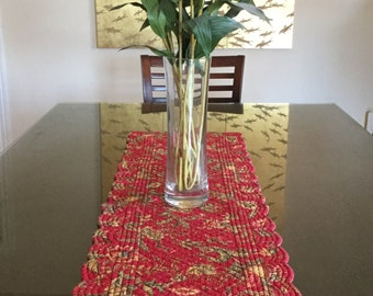 "vintage quilted table runner table decor place mat wine red  gold 14"" x 51.5"" Vera Bradley country style cottage chic garden party colorful"