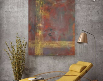 Original Abstract Red Gold Handmade Acrylic Painting - Eternal Love 3