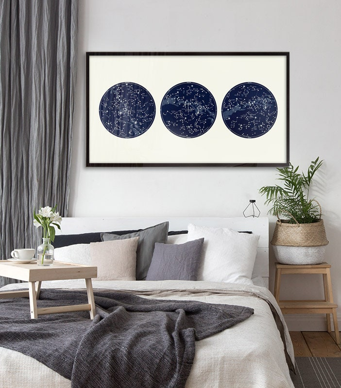 Constellation Print Celestial Map, Star Chart poster, Northern Hemisphere, Large Horizontal Art Print, Large Constellation Art, classroom