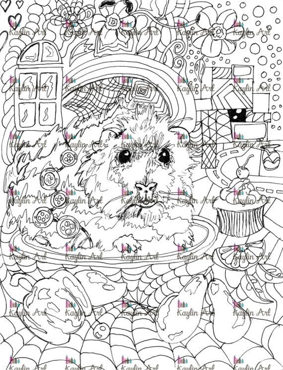 Items similar to Guinea Pig coloring page! Handdrawn super ...