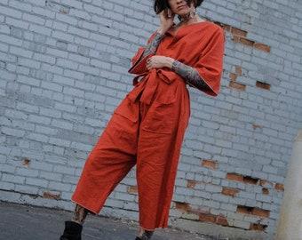 ZMF Unisex Linen Artist Coverall - Rust