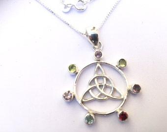 Sterling Silver Celtic Pagan Wicca Pendant Necklace with Amethyst Garnet Peridot & Topaz Semi-Precious Gemstones 18 Inch Chain REF - J026