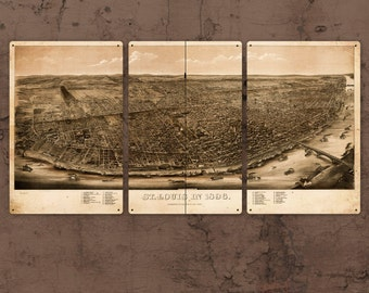 "Vintage Map of St. Louis METAL Triptych 48""x24""  FREE SHIPPING"