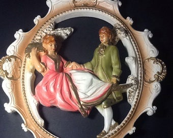 Vintage Plaster Victorian Wall Art. Courting couple chalkware wall hanging. Victorian art wall hanging.