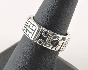 Size 7 Sterling Silver Textured Band Ring (7.7 grams)