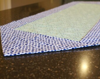 Navy/Mint Floral Table Runner