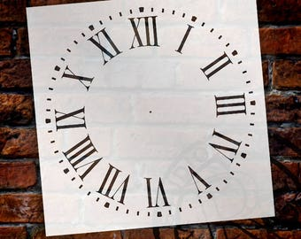 Roman Numeral Clock Stencil by StudioR12 - For DIY Painting Wood Clocks Small to Extra Large Farmhouse Country Home Decor - SELECT SIZE