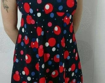 Dress vintage 1980 of Red/Blue/Blue polka dot patterned short sleeve size 38 - Bohemian/Vintage/romantic