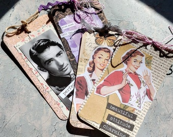 Set 4 Altered Tags - Pin Up & Charming!
