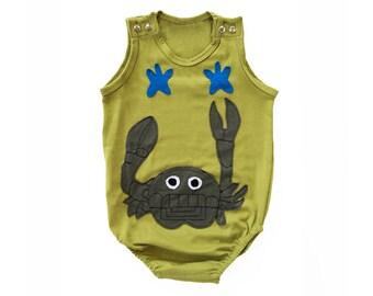 Baby Onesie, Boy Onesie, Unisex Onesie, Baby Clothing, Applique Clothing, Green Onesie, Crab Clothing, Crab Onesie, Infant Clothing