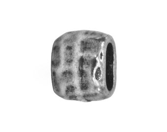 4 TierraCast Hammered Barrel 1/4 inch ( 7 mm ) Pewter Beads